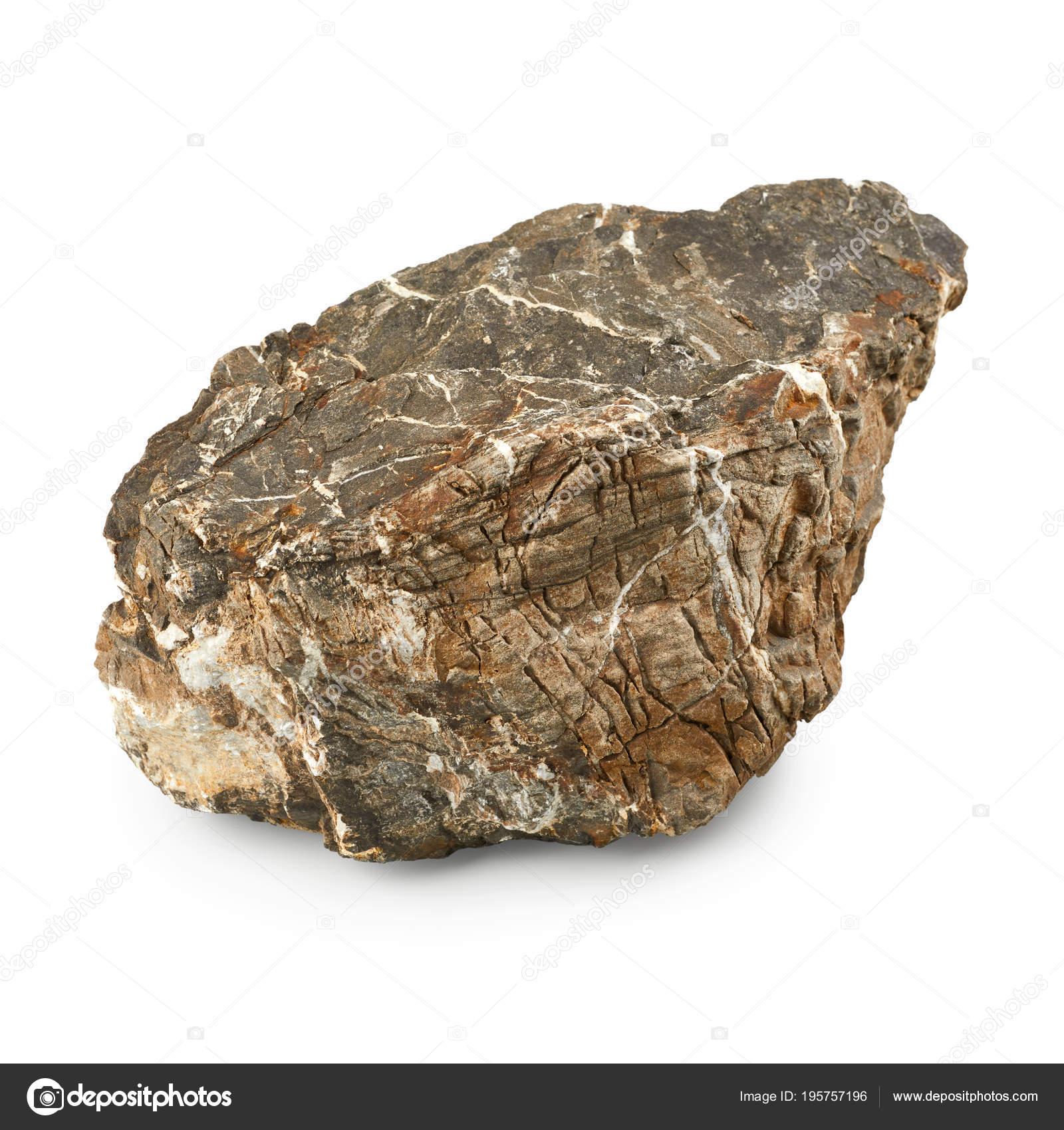 Big Stone Isolated White Background Stock Photo