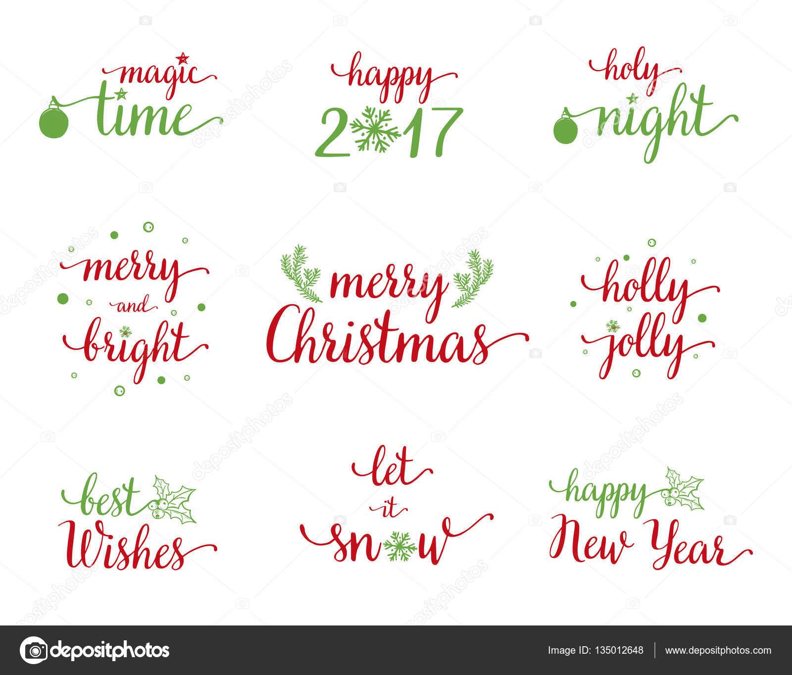 Cooler Satz von Weihnachten und Neujahr Kalligraphie mit Weihnachts ...
