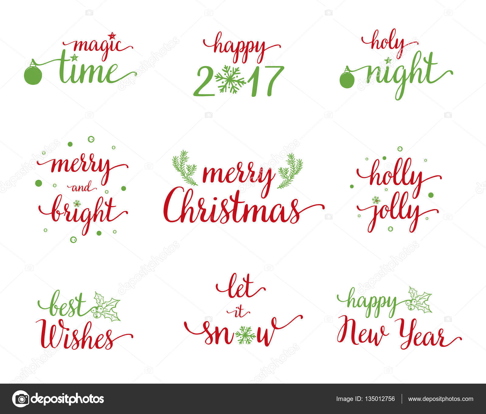 Cool set of Christmas and New Year calligraphy with christmas decor ...