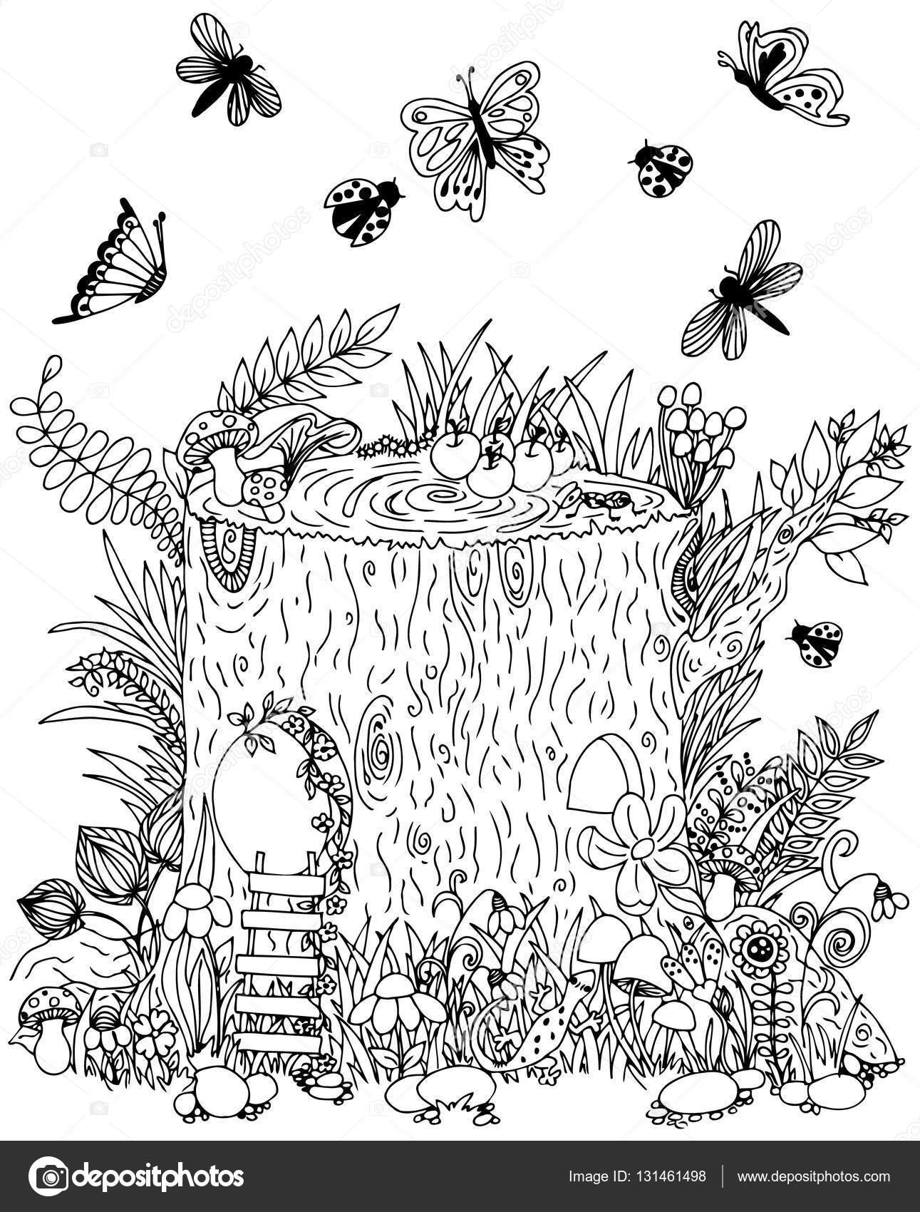 fairy stump with door butterflies vector illustration doodle