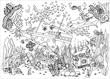 Sunken treasure. Wreck. Vector illustration. Doodle drawing. Meditative exercise. Coloring book anti stress for adults.