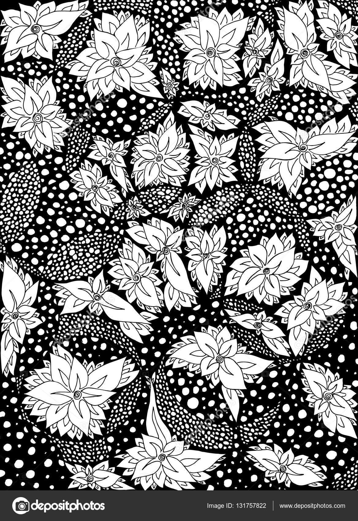 Flores, hojas en círculos. Ilustración de vector. Doodle de dibujo ...