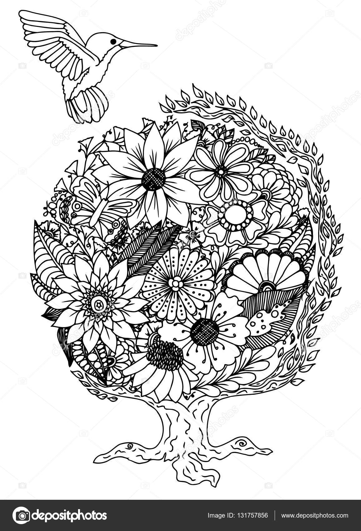 Colibri Flowers Vector Illustration Doodle Drawing Meditative Exercise Coloring Book Anti Stress For Adults Blakc And White By Maryafro