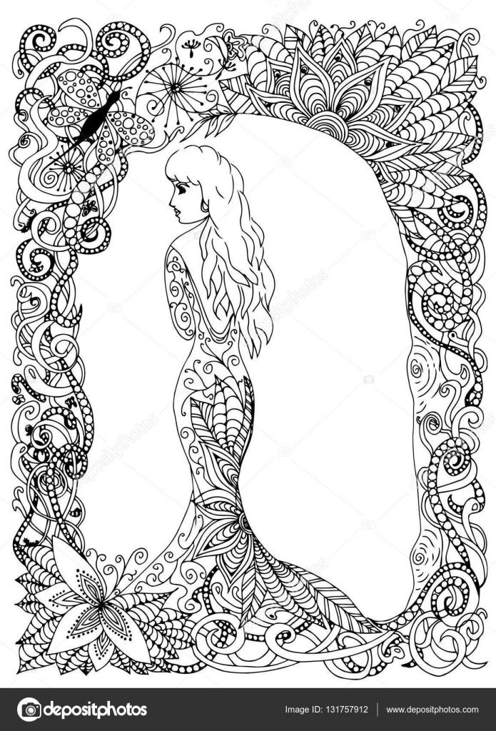 Beautyful Kız Prenses Uzun Elbise Vektör çizim çizim Doodle