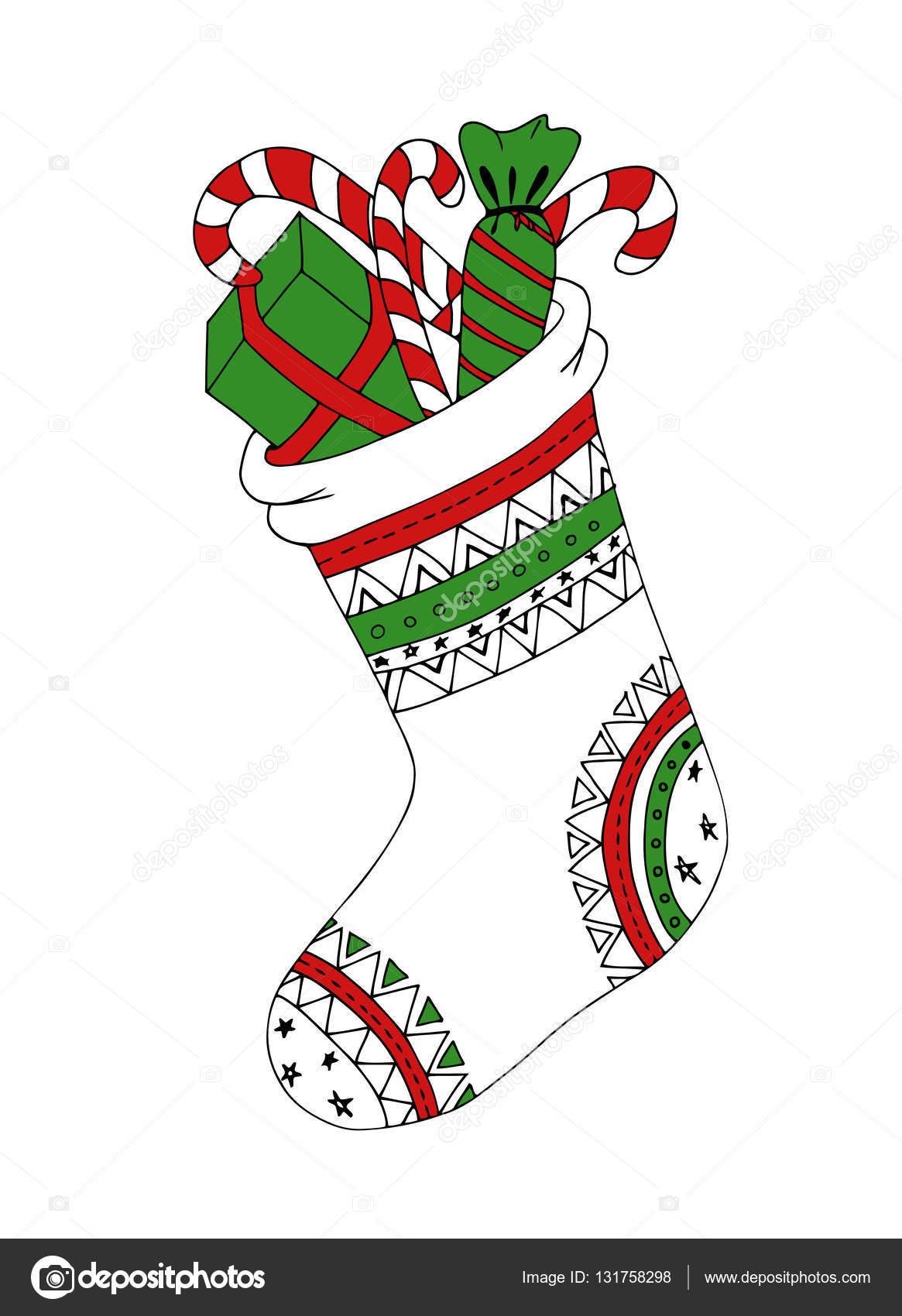 Disegni Di Natale Vettoriali.Doodle Schizzo Di Disegno Zentangle Calza Di Natale