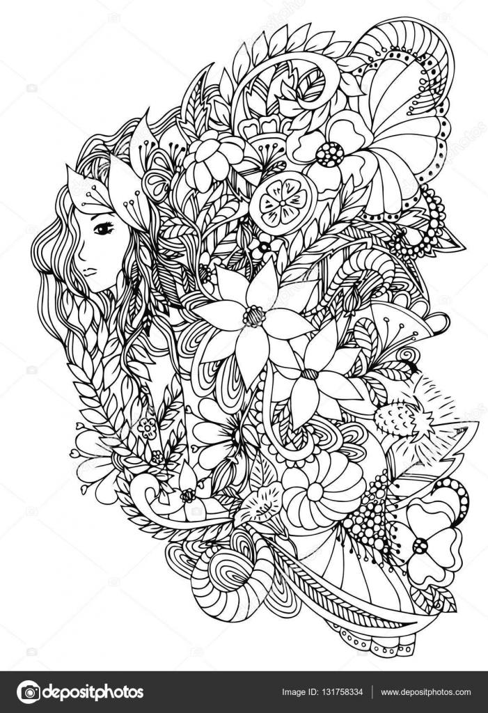 Hermosa mujer con caracol. Diseño para adultos libro del colorante ...