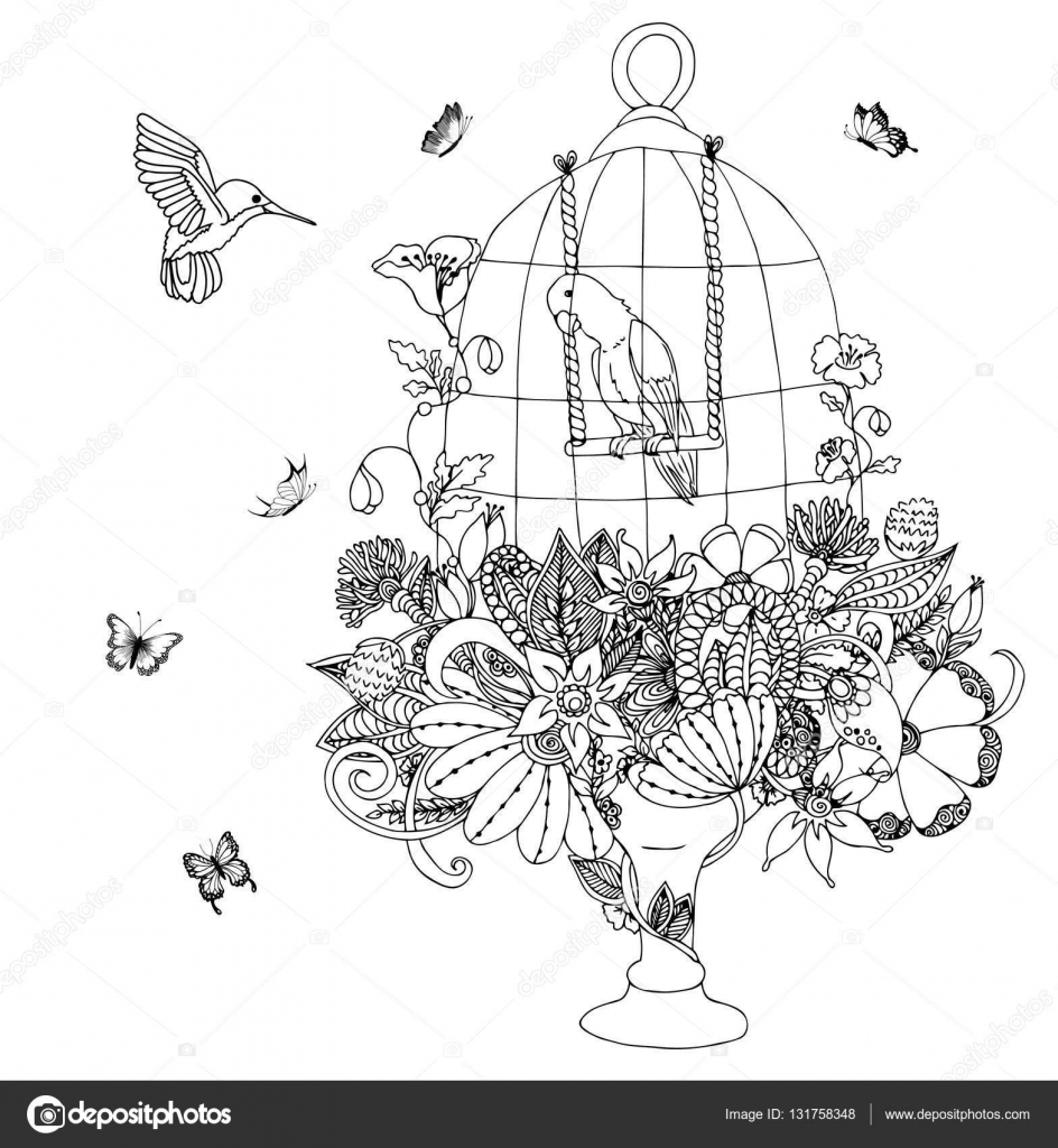 Vector Illustratie Zentangle Kooi Met Een Papegaai Bloemen