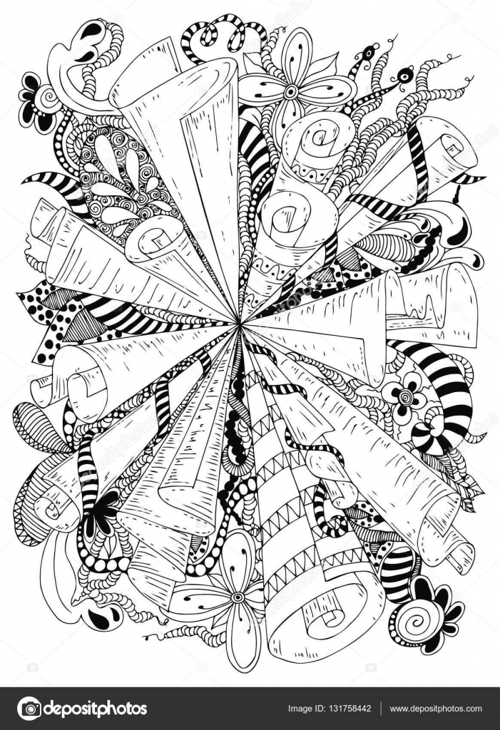 Vector illustration zentangle abstraction ancient scrolls