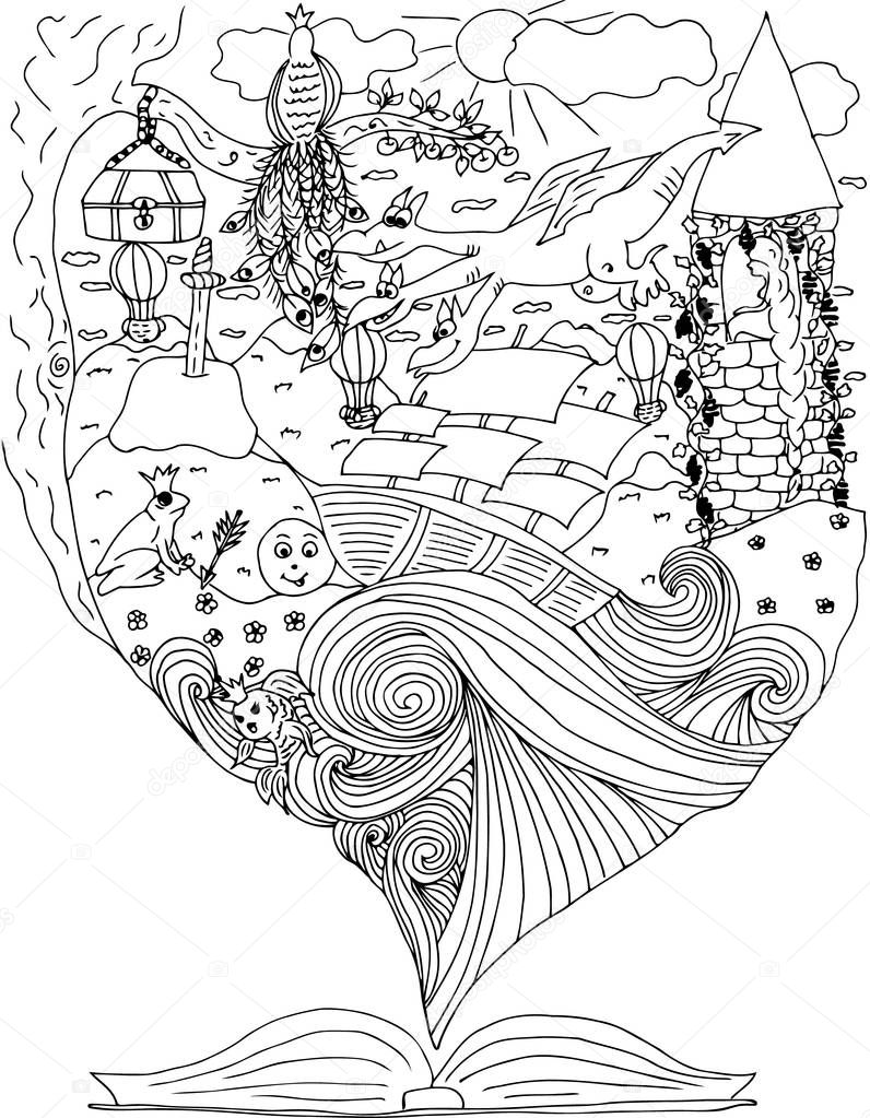 Fairy tale. journey in world of fables. dragons. rapunzel. ship in ocean. Vector illustration.