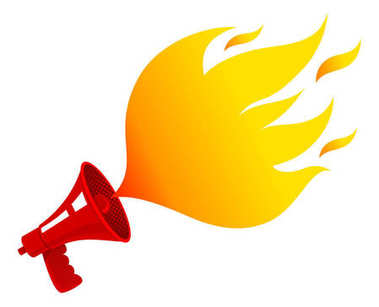 Megaphone with fire