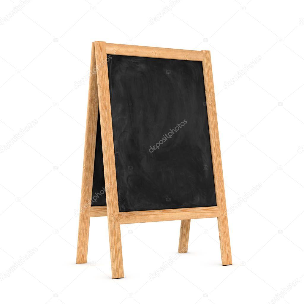 Representación caballete pizarra limpia negro en el marco de madera ...