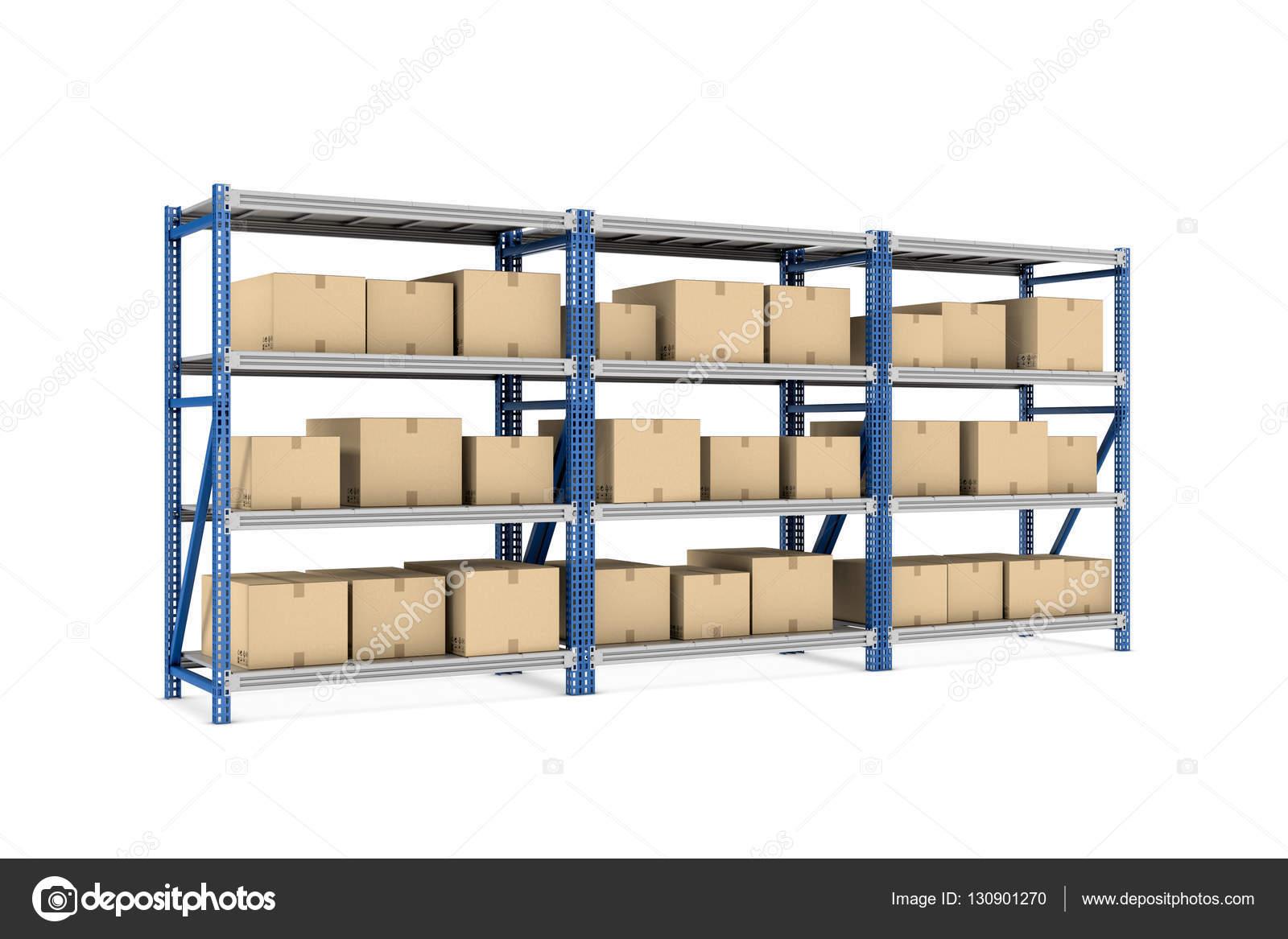 Representacin de tres estantes de metal con beiges cajas de cartn
