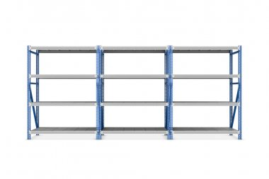 Rendering of three metal racks put together, isolated on the white background