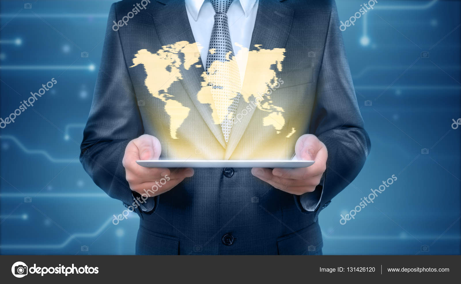 Businessman holding a tablet pc computer with the projection screen businessman holding a tablet pc computer with the projection screen of graphic world map business concept digital presentation gumiabroncs Images