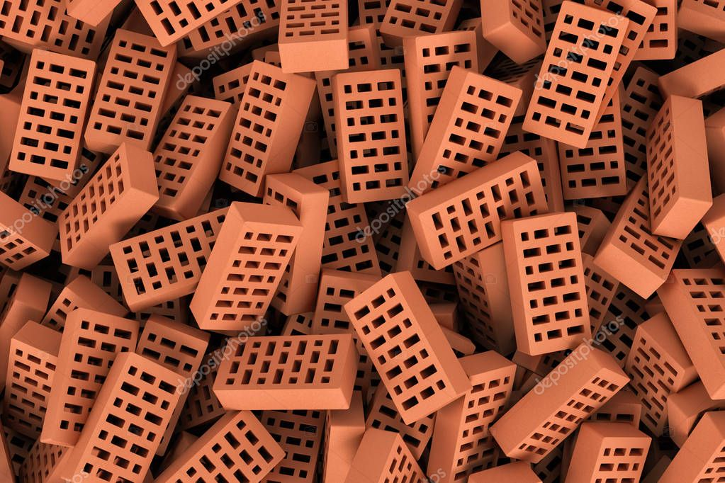 Rendering of red face bricks lying together in disorder, top view.