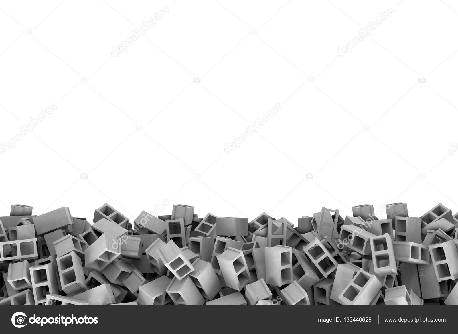 Representación marco hecho de bloques de cemento gris en la parte ...