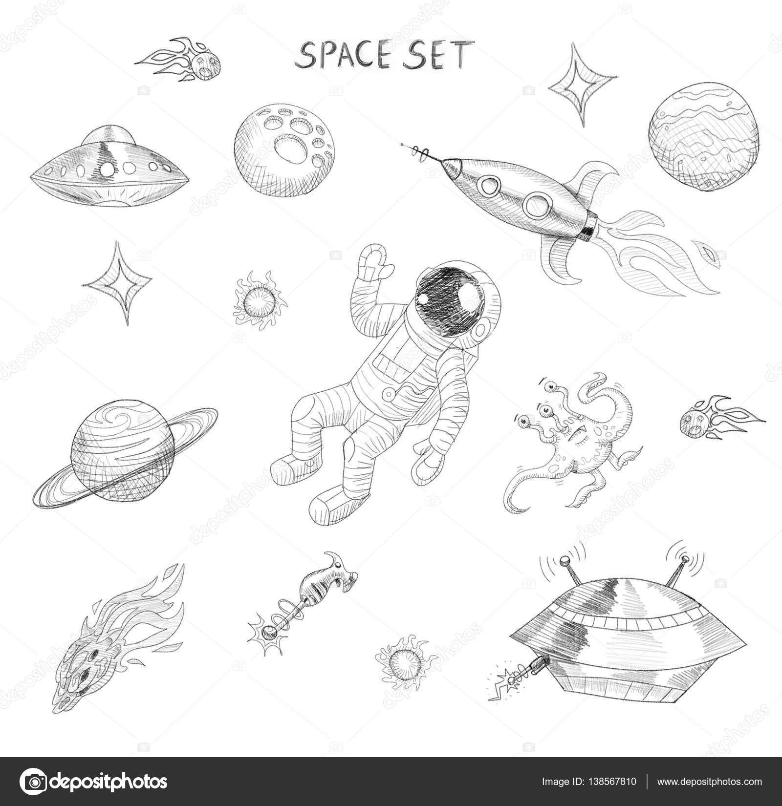Drawing Of Space Objects: Astronaut, Alien, Ufo, Spaceship