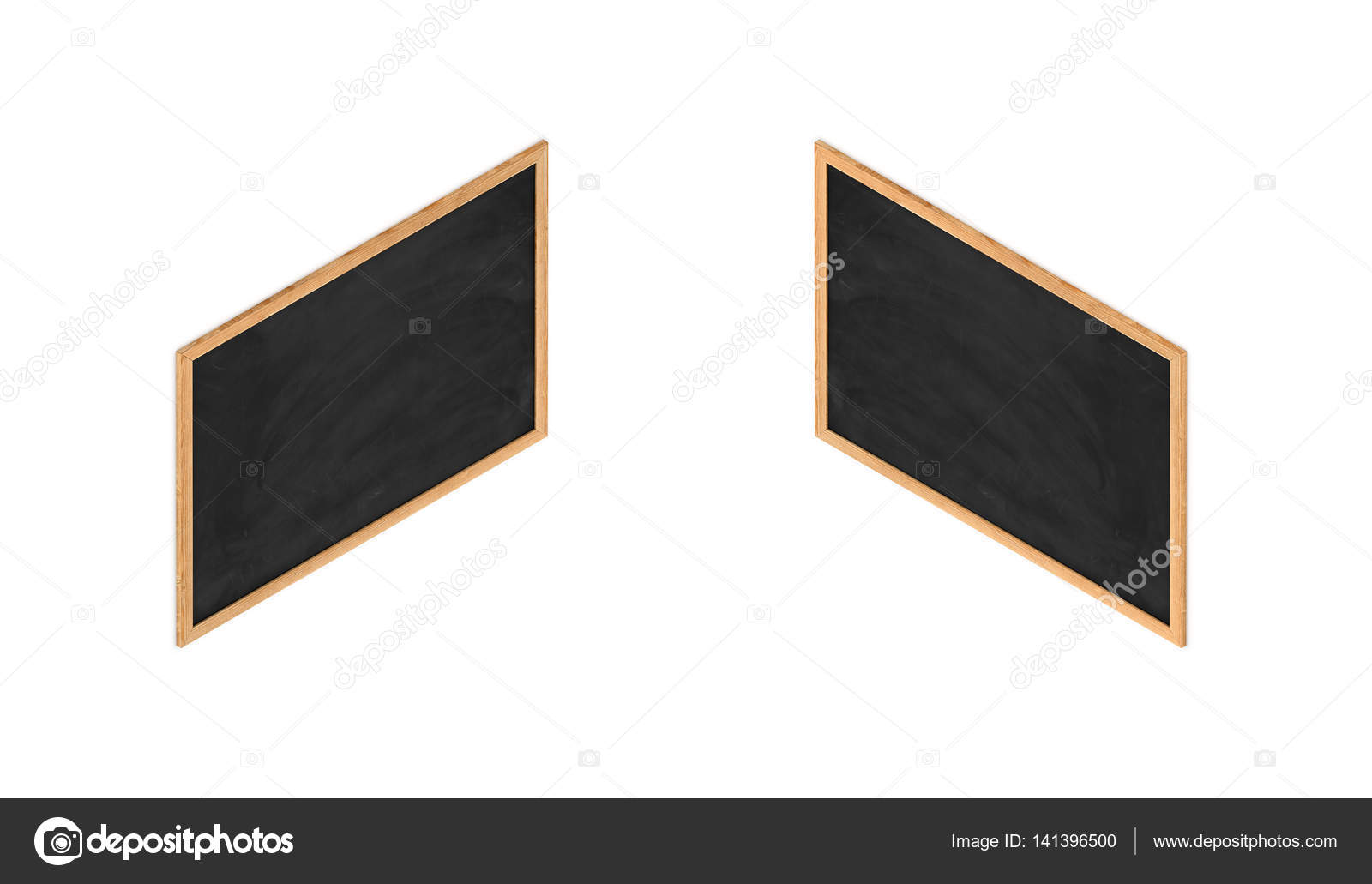 Render 3D de una pizarra negra enmarcada en vista isométrica doble ...