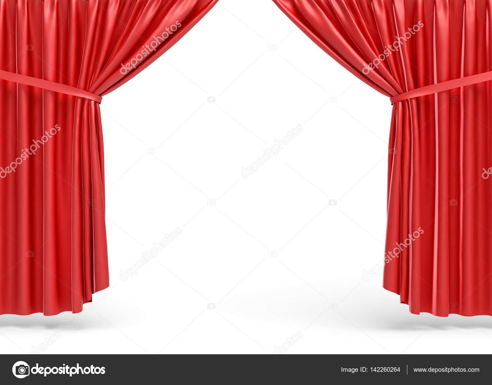 Rendu 3d de rideaux de sc ne ouverte rouge sur fond blanc photographie gearstd 142260264 - Location de rideaux de scene ...
