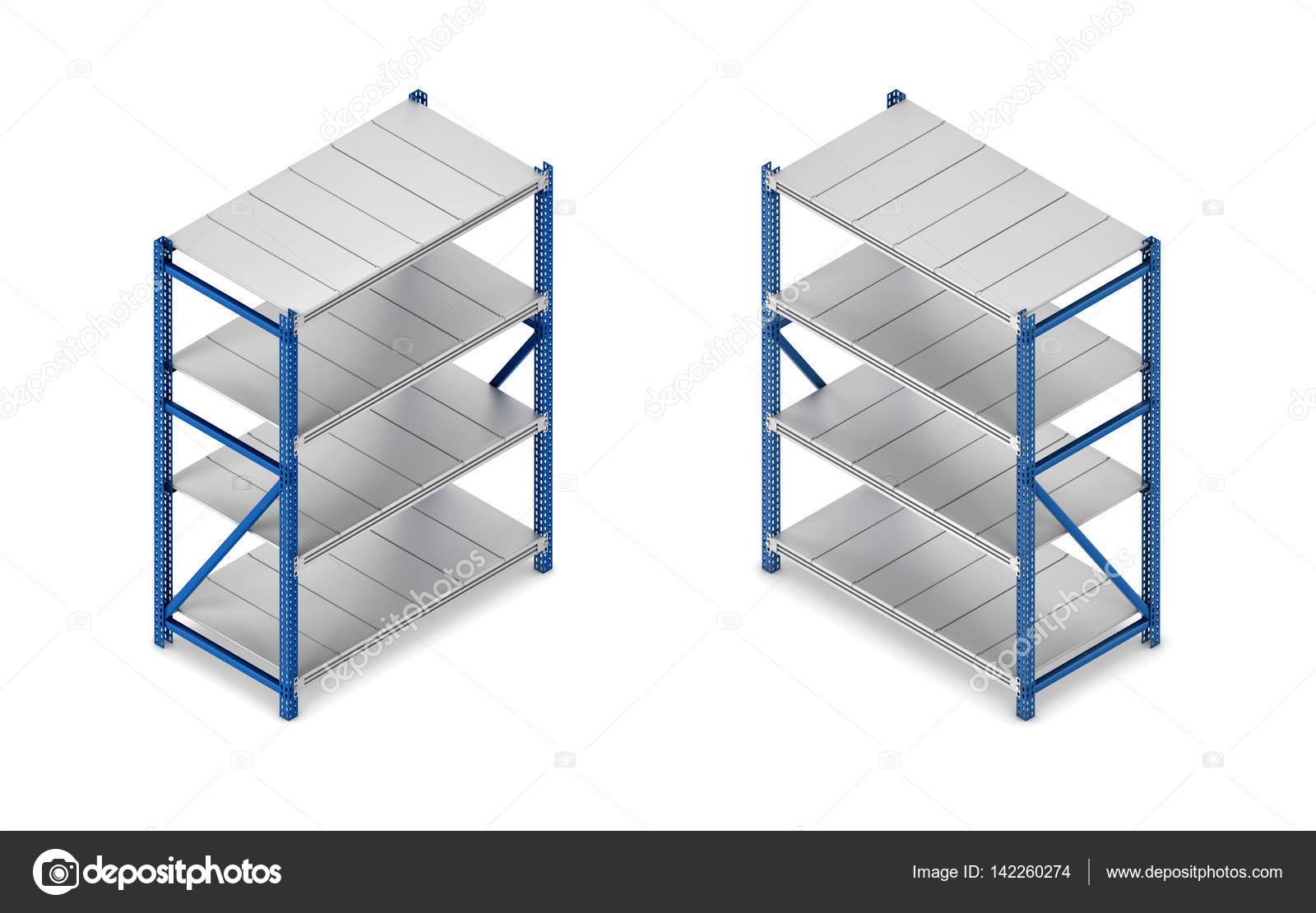 Render 3D de una unidad de estantería de acero gris y azul en vista ...