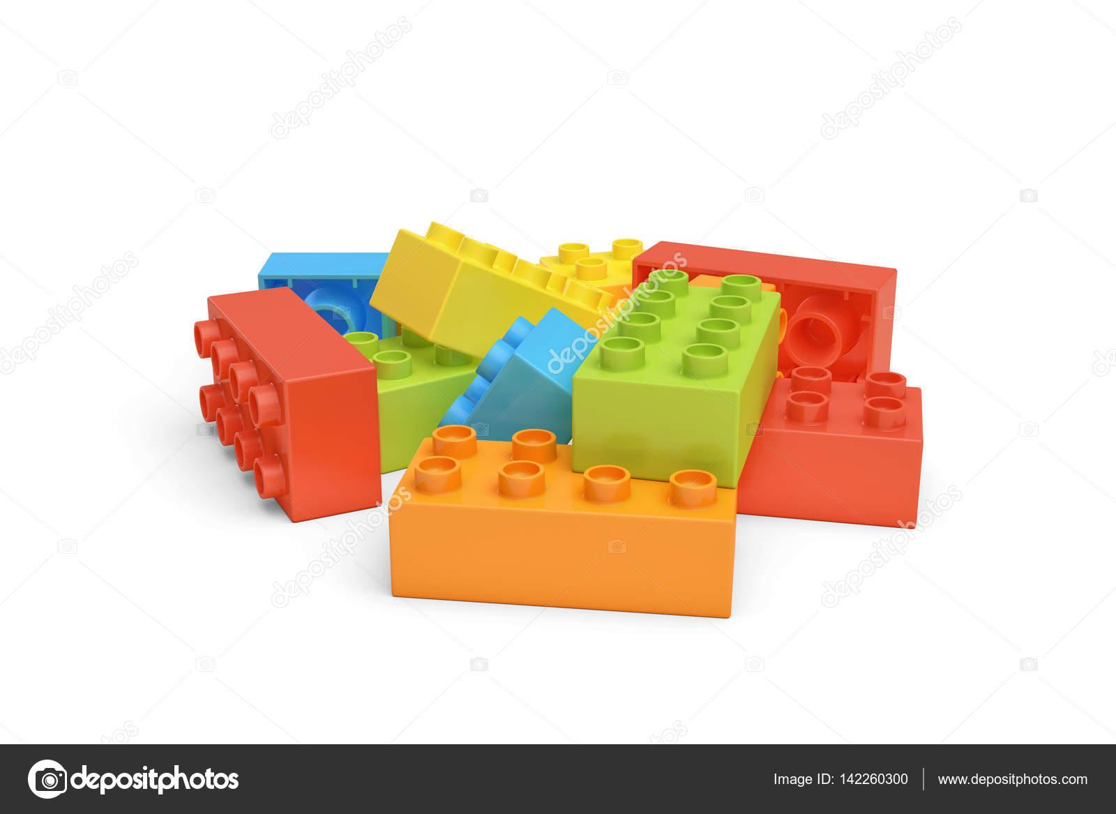 Render 3d de ladrillos de lego de varios colores sobre - Ladrillos de colores ...