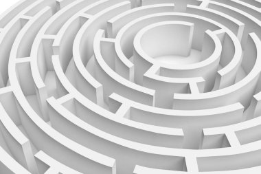 3D rendering of the white round maze consruction approximated