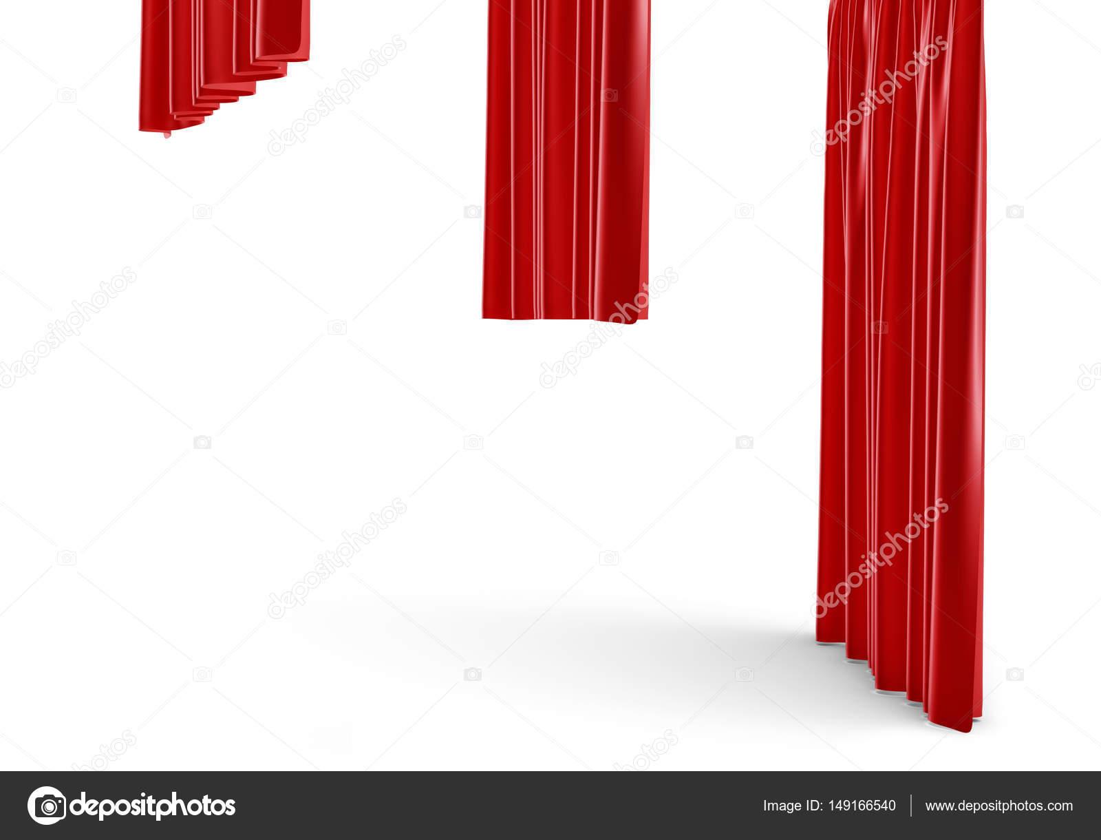 rendu 3D d\'un trois rideaux de satin rouge de taille différente sont ...