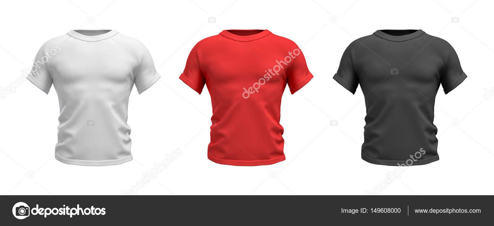9b1c7097d2 3D visszaadás-ból három férfi póló fehér, piros és fekete színek reális  izmos felsőtest elülső nézetben– stock kép