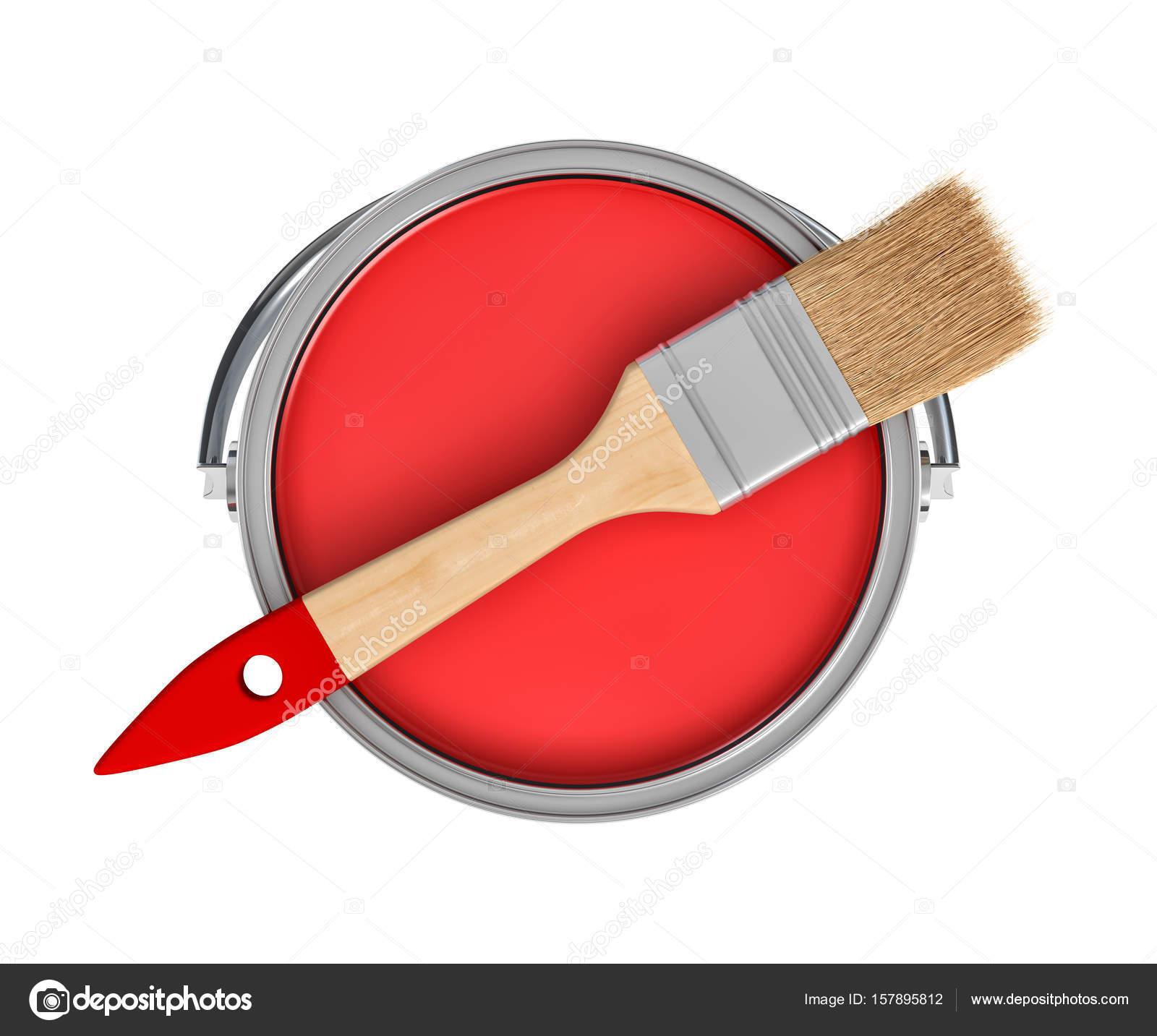 rendu 3d d un pot de peinture rouge et une brosse en bois avec une poign e rouge en vue de. Black Bedroom Furniture Sets. Home Design Ideas