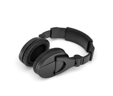 3d rendering of jet black wireless headphones with over-the-ear design lying on white background.