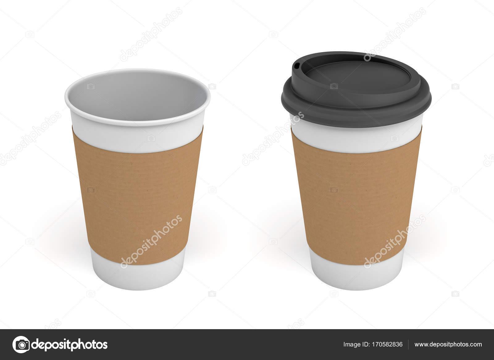 3D-Rendering zwei weiße Kaffeetassen mit Karton öffnen Ärmel ein ...