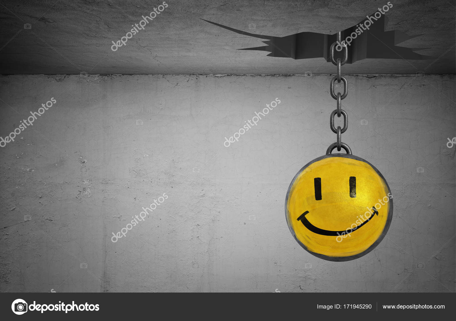 3d rendering of a wrecking ball with a happy face drawing hangs from