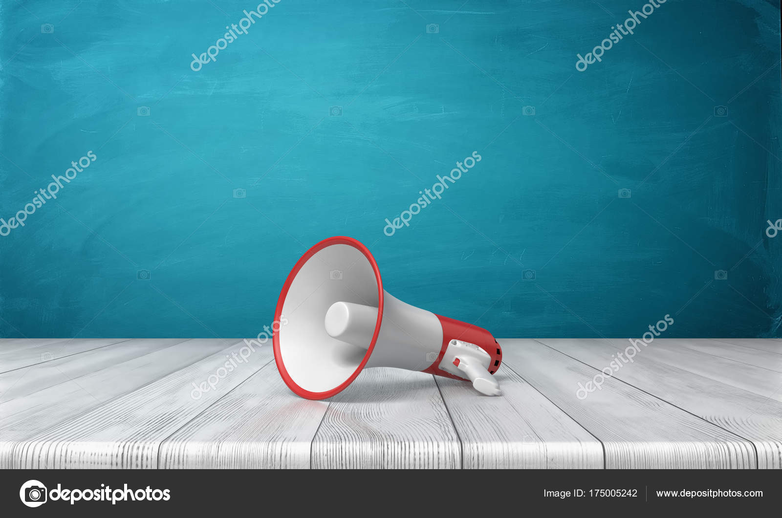 3d rendering of a single red and white megaphone lying down on a