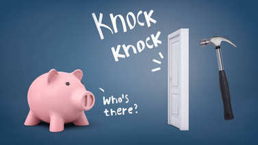 3d rendering of a large piggy bank stands near a door when a large hammer knocks on it with words indicating the sound.