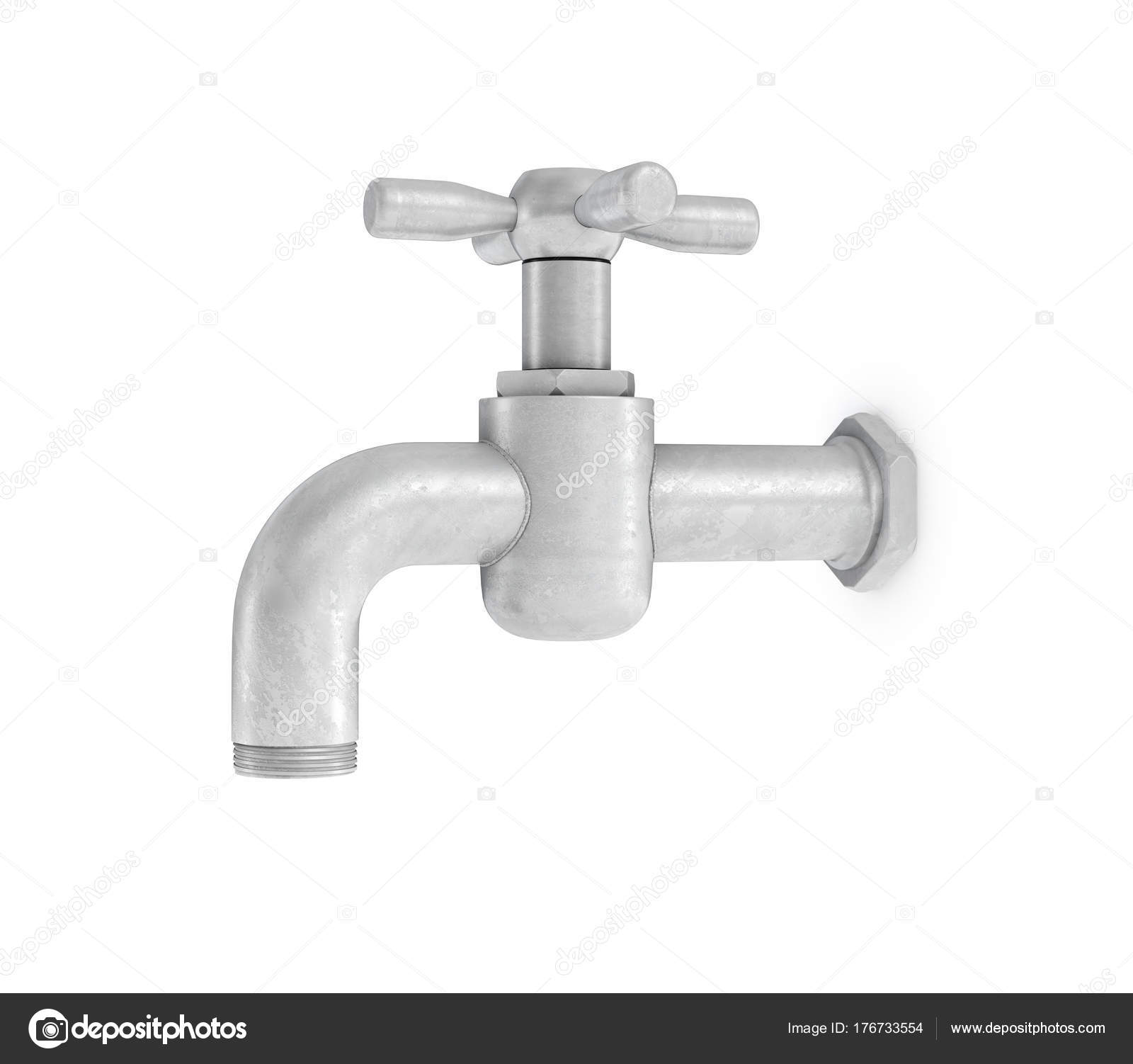 3d rendering of single metal water tap with a cross handle isolated ...