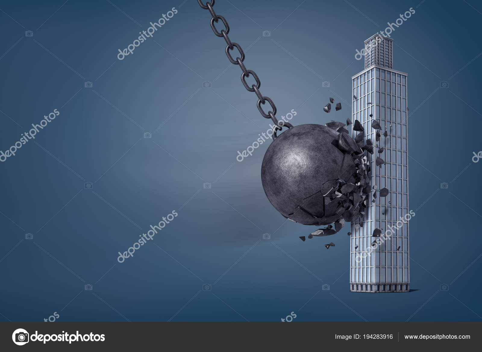 3d rendering of giant iron wrecking ball breaks in pieces when it