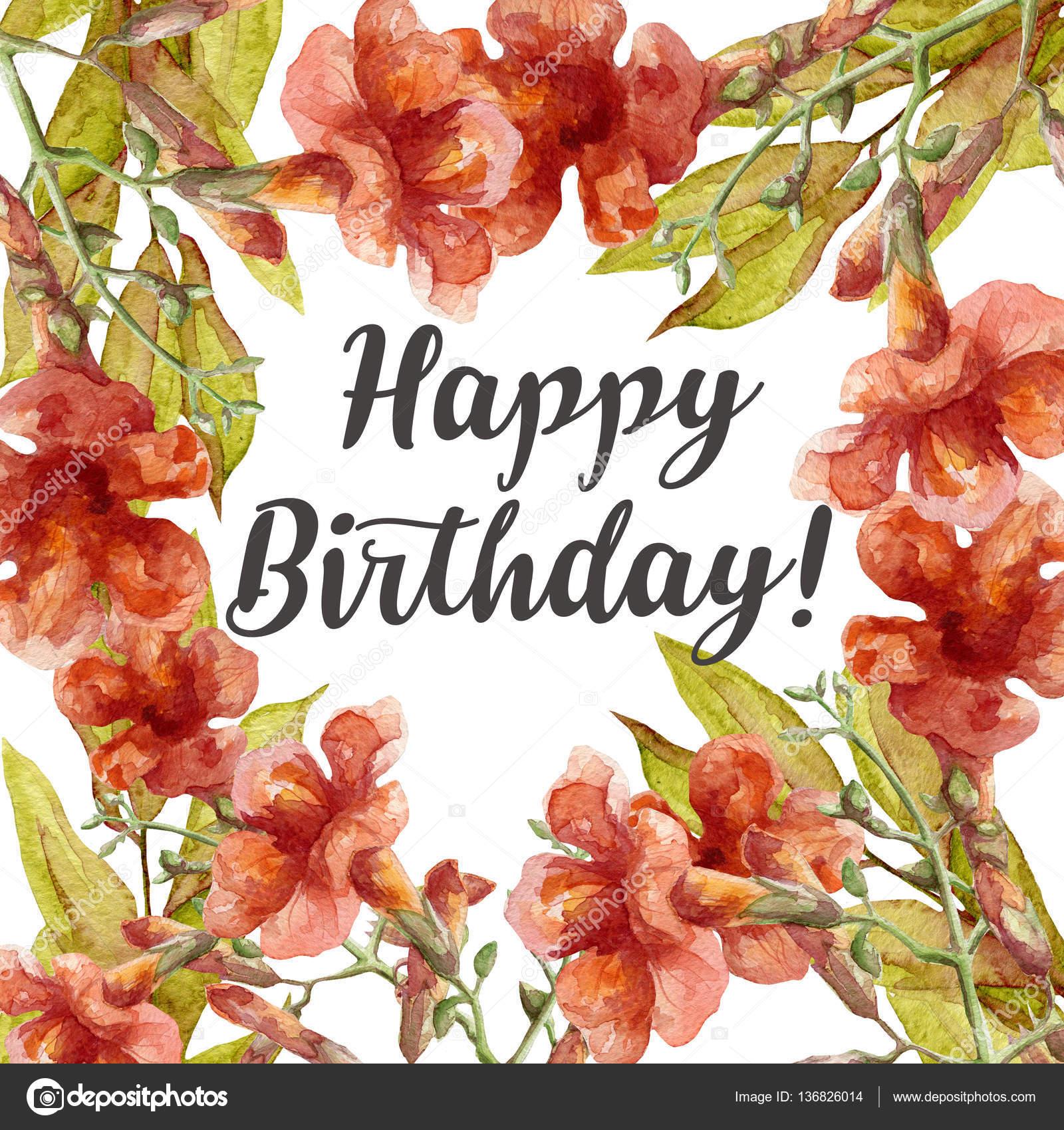 Uitzonderlijk Gelukkige verjaardag-kaart met aquarel bloemen — Stockfoto #FF28