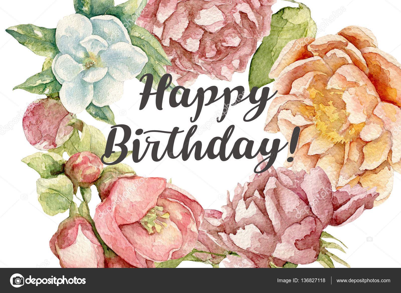 Happy birthday card with watercolor flowers stock photo yunaco happy birthday card with watercolor flowers stock photo izmirmasajfo