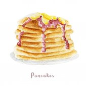 Fotografie Watercolor hand drawn pancakes. Isolated dessert illustration on white background