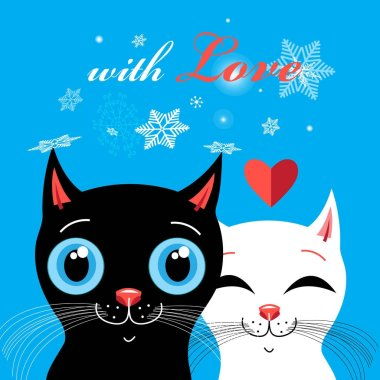 Graphics with enamored cats on a blue background stock vector