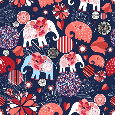 Beautiful seamless pattern enamored elephants on a dark ornamental background stock vector