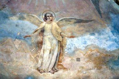 "Картина, постер, плакат, фотообои ""фото древней фрески ангела с крыльями фотообоев арки"", артикул 317418482"