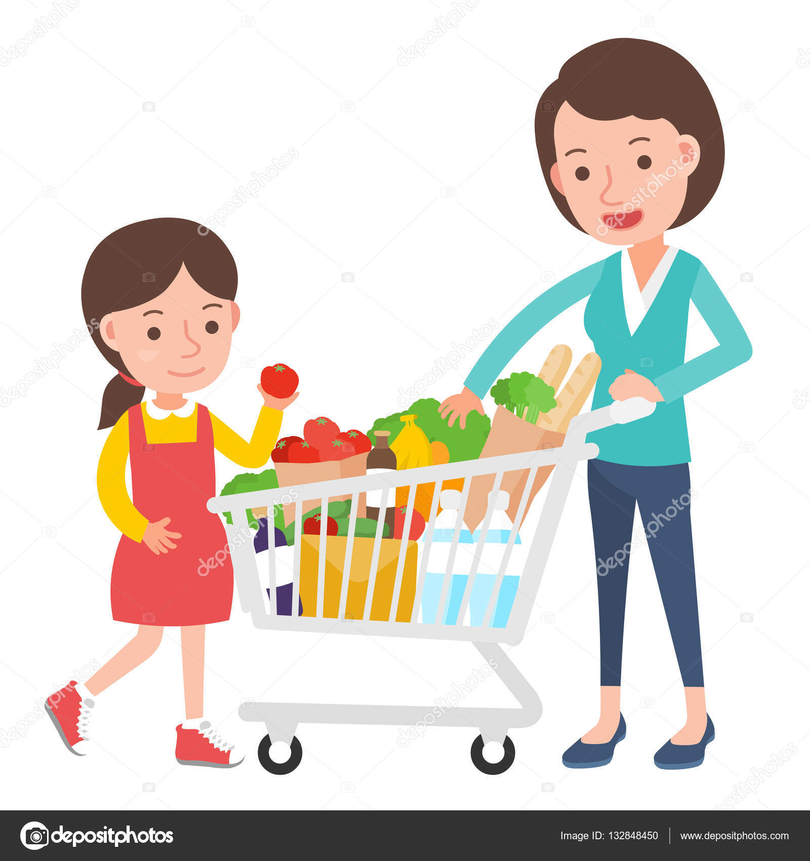 mom and daughter with supermarket trolley shopping with