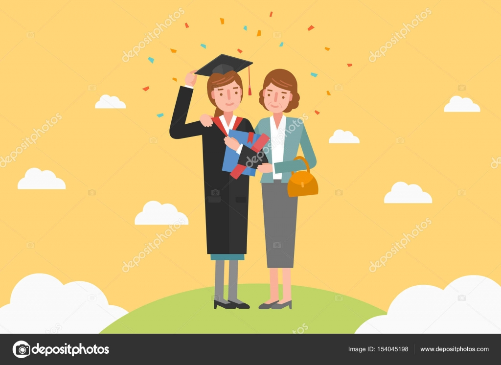 79bb0709e49 A mother celebrating her graduation ceremony. — Stock Vector ...