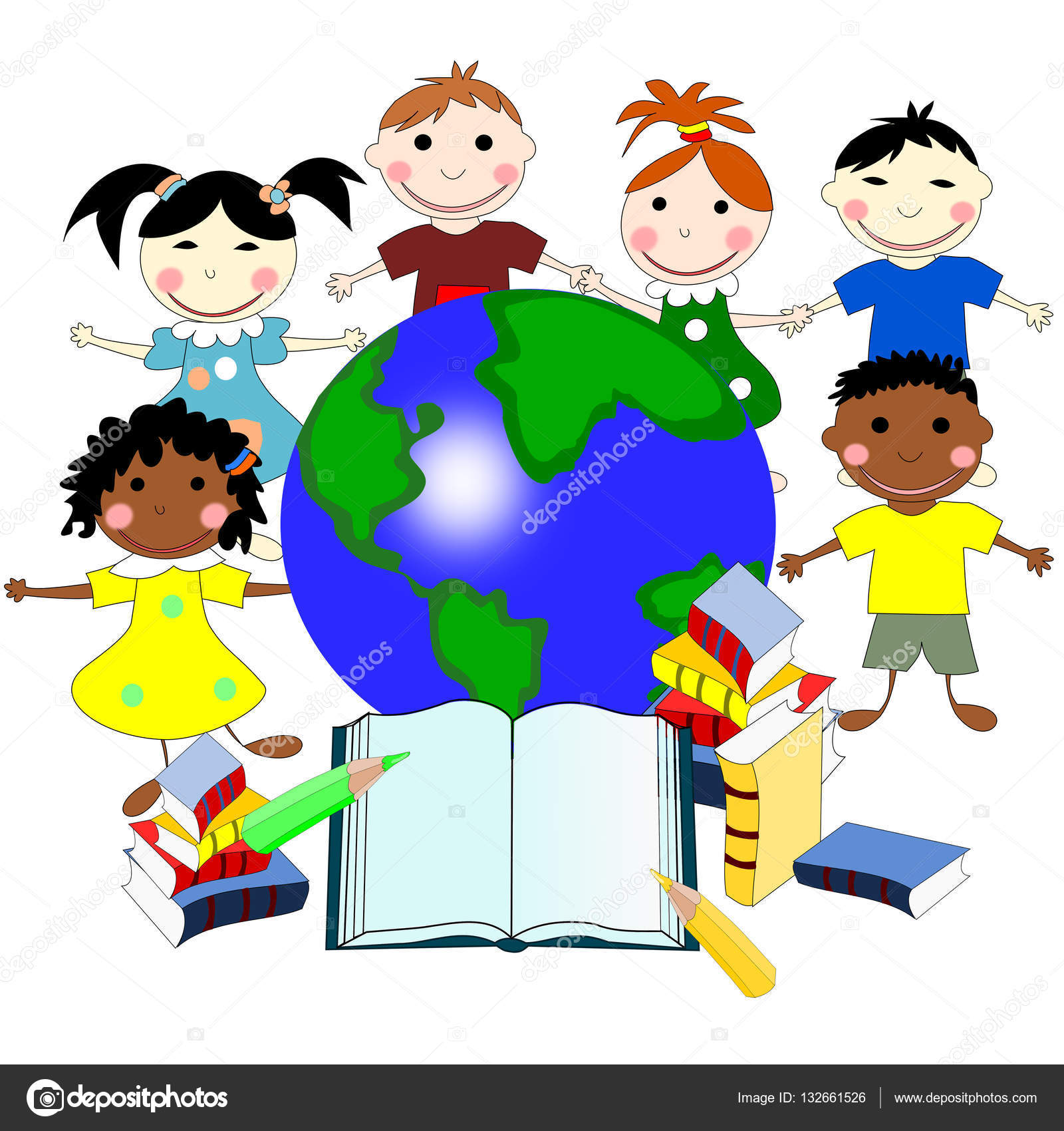 Children of different races with books and a map of the world e children of different races with books and a map of the world e stock gumiabroncs Gallery
