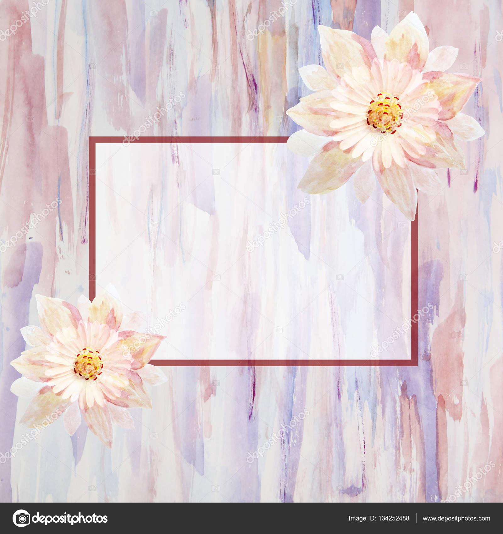 Greeting Card With Flowers Handmade Watercolor Painting Weddi