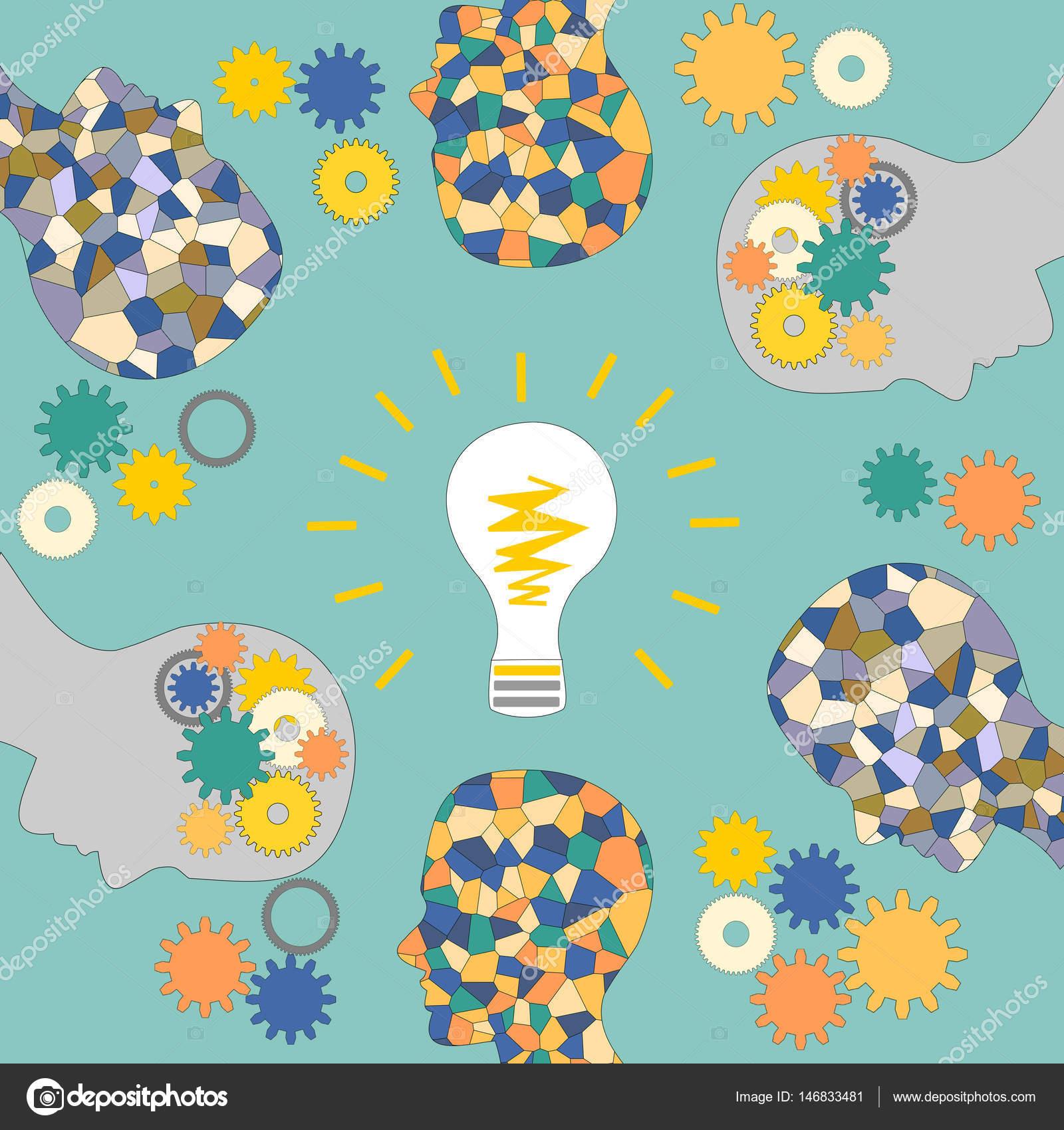 L\'émergence d\'idées, la tête de la mosaïque de l\'homme, éclairage et ...