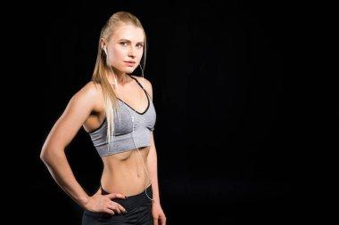 sporty woman with earphones