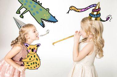 Cute girls in cone hats