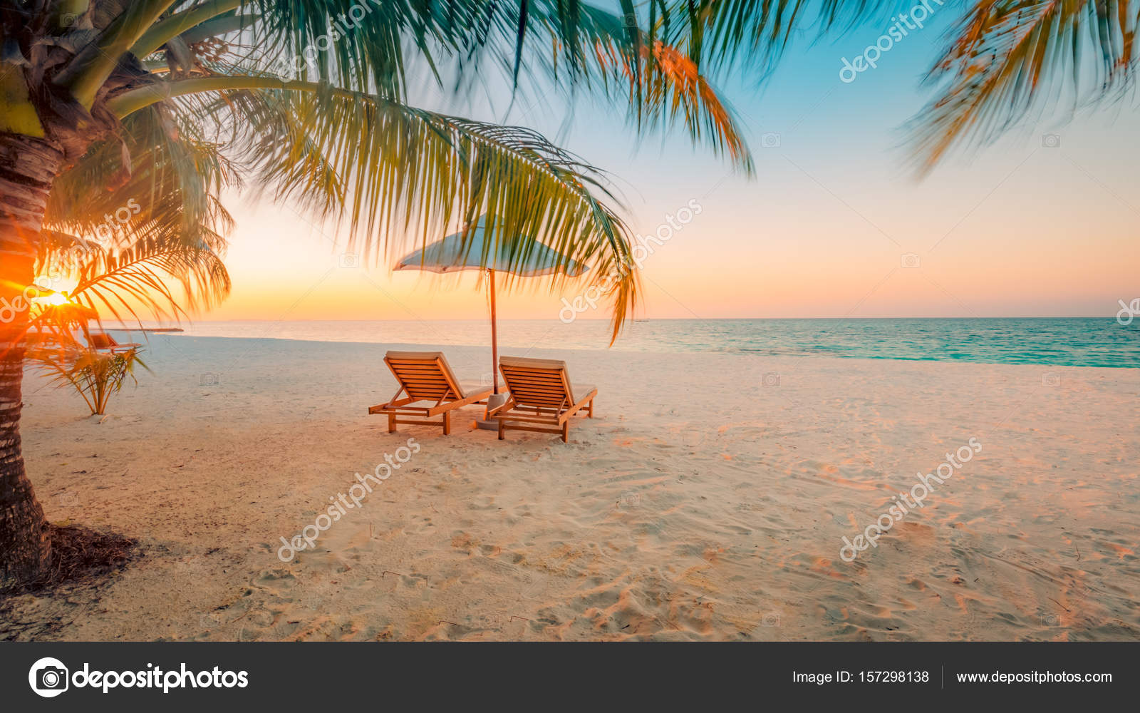 Beautiful Beach Background For Summer Travel With Sun